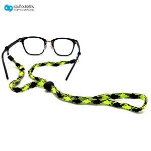 สร้อยแว่นตาแบบเชือกสีเขียวนีออน-ดำ